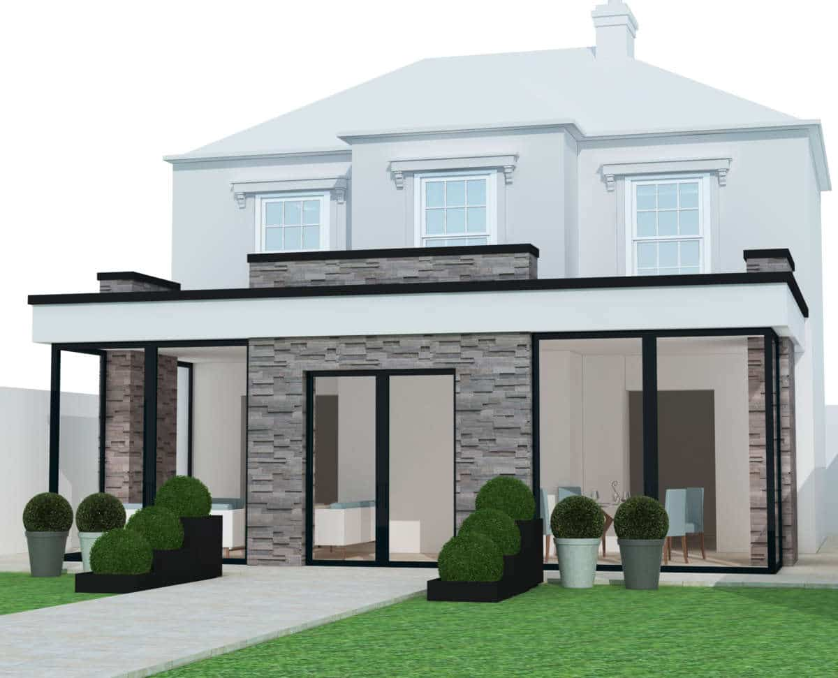 Rear house extension architectural design service for a client in Richmond