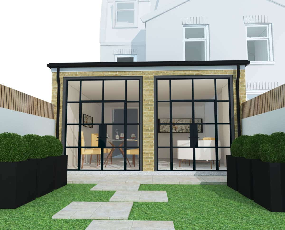 Rear house extension 3d Autocad project